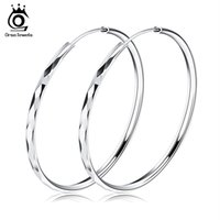 Wholesale trendy fashion accessories wholesale - Orsa Jewelry Fashion 925 Sterling Silver Earring,50mm Hoop Earring Style,Trendy Design Wholesale Fashion Earring Accessories OE09