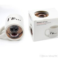 haustier keramik großhandel-Kuso Funny Dog Nose Becher Keramische Tasse Tier Pet Drinkware Doggy Style Keramik Becher Kaffeetassen Kostenloser Versand 10kq R