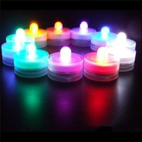 Wholesale Battery Operated Tea Light Candle - Underwater Flickering Flicker Flameless LED Tealight Tea Waterproof Candles Light Colorful Battery Operated Wedding Birthday 3002036