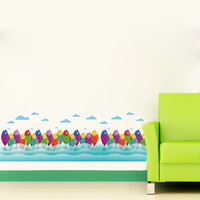 Wholesale Free Graphic Lines - 7011 Warm Romantic DIY Removable Shoal of Fish Skirting Line Wall Stickers Wall Decal Home Decor Free Shipping