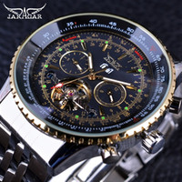 Wholesale Jaragar Automatic Watch Brands - Jaragar 2017 Flying Series Golden Bezel Scale Dial Design Stainless Steel Calendar Mens Watch Top Brand Luxury Automatic Mechanical Watch