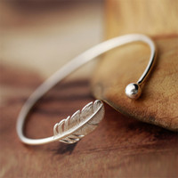 Wholesale Sterling Silver 925 Strand - 925 Sterling Silver Feather Bracelets & Bangles Jewelry New Fashion Leaf Bracelet For Women Statement Party Gift