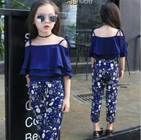 Wholesale Baby Girls Summer 2pc Set - Summer Girls Clothing Sets Baby Teenage Kids Ruffles Off Shoulder Short Sleeve Shirt+Floral Print Long Pant 2Pc Suit
