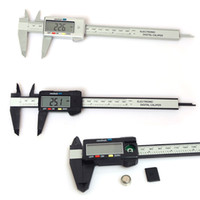 Wholesale Electrical Gauge - 150mm 6inch LCD Digital Electronic Carbon Fiber Vernier Caliper Gauge Micrometer Plastic Caliper