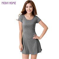Wholesale Clubbing Girl Korean - Wholesale- women summer dress New Korean Girl Mini Dress Short Sleeve Candy Color One-piece Slim Basic Dresses vestidos femininos