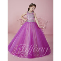 Wholesale Sleeveless Ruffle Shirt - 2017 Cute Purple Cheap Little Girls Pageant Dresses Tulle Sheer Crew Neck Beaded Crystals Corset Back Flower Girls Birthday Princess Dresses