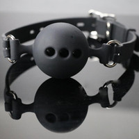 joch sexspielzeug großhandel-Adult Supplies Rosa und schwarz drei Größe Mund Ball Plug weichen Mund Ball Mund Joch Silikon Sex Bondage Sex Spielzeug gebunden
