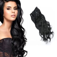 Wholesale Top Piece Clip Extensions - Brazilian Top Quality Clip In Hair Extensions 10pcs set 22clips Natural Color Human Hair Extensions Dyeable Double Weft Hair Pieces