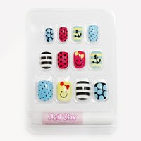 Wholesale New Fake Glue Nails - Wholesale- For Kids Children New 12 pieces Smiling Face 3D Fashion Cute Style Art Short Fake False Sticker Nail Tips Free Glue Gel [N623]