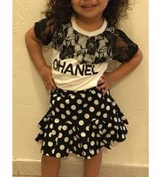 Wholesale Sumer Clothes - Wholesale- 2016 New Summer Girls Clothing Set girl's sumer set 2pcs girl's lace sleeves t-shirt+skirt suit kid's summer suit fashion suit