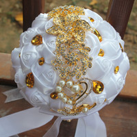Wholesale Gold Artificial Wedding Bouquets - White Wedding Bridal Bouquets Simulation Flower Wedding Supplies Artificial Flower Gold Rhinestones Sweet 15 Quinceanera Bouquets W227