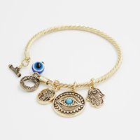 Wholesale Evil Eye Gold Bracelet Plated - Turkey Evil Eye Charms Bangle Bracelets Golden Bangles and Charms Toggle-clasps