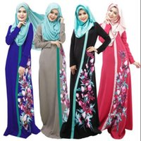 Wholesale Instant Prints - Women Abaya Muslim Print Dress Long Sleeve Islamic Flower Dresses Robe Pattern Solid Turkey Instant Hijab ArabTurkish Worship 26