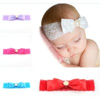Barato Gravatas De Seda Elástica-Boutique Baby Lace Silk Headband com Pearl Sation Hair Bow Elastic Hair Ties para criança pequena Girl Kids