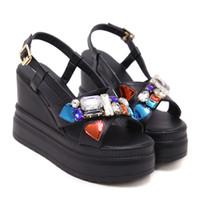 Wholesale Black Platform Slingback - Women Wedge Platform Sandals Casual Gladiator Shoes Sexy Slingback Shoes Peep Toe Rhinestone Sandals