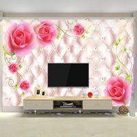 murale classique rose achat en gros de-Classique De Luxe 3d Photo pour Murs salon Papier Peint Papier Peint Mural Plafond Chambre TV Canapé Contexte Rose Papier Mural Accueil
