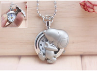 Wholesale Bronze Giraffe - Dog bear giraffe Little dolphin snoopy handbag plane CARTOON pocket watch funny foot shape Women man kids Casual dress chain