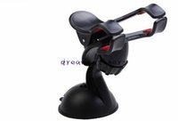 Wholesale universal mini car phone holder online – Universal Mini Suction Cup Vehicle Car Phone Holder Windshield Mount Double Clip Rotating Bracket for iphone Samsung S7 LG HTC
