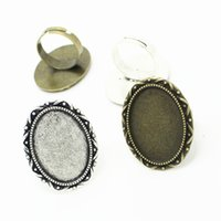 Wholesale Basis Rings - Sweet Bell Fashion Vintage Adjustable Ring Bases Blanks 24*31mm (Fit 18*25mm Dia) two color Cabochon Rings J2029