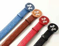 Wholesale Coloured Belts Leather - 2017 fashion colours print letter brand designer belts for men women genuine leather metal buckle belts for women 105cm-125cm