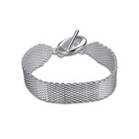 Wholesale Mesh Chain Bracelets - Sterling Silver Plated High-Quality Thick Mesh Material Rope Chain 18MM Toggle-Clasps TO Shape Bracelet Jewelry