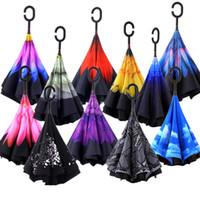 ingrosso ombrelloni in nylon-Ombrelli di ombra invertiti creativi doppio strato con maniglia a C rovescio antivento colorato ombroso soleggiato ombrellone da spiaggia 28wf KK
