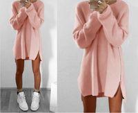 Wholesale Women S Long Sweater Tunics - Elegant Autumn Long Sleeve Sweater Dress Women Casual 2016 Zipper Kintted Loose Winter Tunic Dresses robe hiver vetement femme