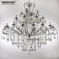 Wholesale Large Art Work - Classical Large 28 Arms Wrought Iron Chandelier 28 Lights Crystal Drop Light Fixture Chrome Lustre De Sala Crystal Hanging Lamp