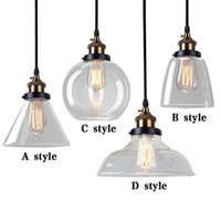 Wholesale Cloth Pendant Light Cord - Retro Vintage Pendant lamp Loft Pendant lights Glass Lampshade for Bar Cloth Shop Pendant Lamp Colgante Glass Abajur Fixtures