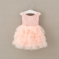 Wholesale Girl Bow Belt Dress - Girls princess dresses 2017 new children lace long sleeve tulle tutu dress girls back V-neck bows belt long dress kids party clothes A0517