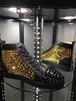 Wholesale Top High Cut Shoe Brands - Loubs Top Luxury Brand Red Bottom Sneakers High Quality Men Spikes Pik Shoes High Cut Walking Sneakers Black Leather Gold Rivets