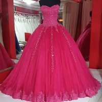 Wholesale Evenig Party Dresses - Real Images Fuchsia Ball Gown Prom Dresses 2018 Lovely Lace Appliques Sequins Plus Size Arabic Delicate Formal Evenig Party Gowns For Girls