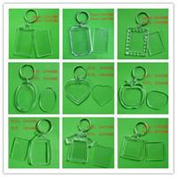 Wholesale Transparent Keychains - DIY Blank Photo Keychains Transparent Acrylic Key Chains Insert Photo Plastic Keyrings ,500pcs Free DHL Fedex