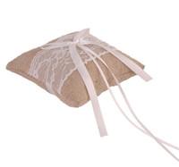 linge de maison vintage achat en gros de-15 * 15cm décoration de mariage dentelle noeud toile de jute Vintage toile de jute toile de mariage romantique oreiller bague