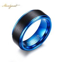 Wholesale Tungsten Rings Wholesalers Usa - Wholesale- Meaeguet Black Blue Tungsten Carbide Ring For Men 8MM Trendy Rings Jewelry USA Size