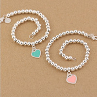 Wholesale Bead Jewelry For Sale - Hot sale S925 Sterling Silver beads chain bracelet with enamel grenn and pink heart for women and mother's day gift jewelry free shi