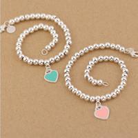 ingrosso regali gratuiti per le madri-La vendita calda S925 Sterling Silver perline bracciale a catena con smalto grenn e cuore rosa per le donne e gioielli regalo di giorno della madre libera shi