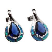 Wholesale Blue Opal Studs - 925 Sterling Silver Earring Natural Gemstone Blue Opal Sapphire Handmade Teardrop Women Jewelry Free Shipping