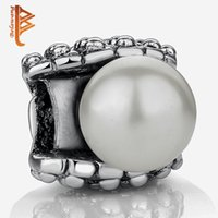 Wholesale Big Hole Pearls - BELAWANG Wholesale Silver Charms with Simulated pearl Big Hole Beads Fit Original Charm Bracelets&Bangles DIY Jewelry Making Free Shipping