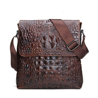 Wholesale Tablet Man Bag - 2017 Genuine Leather Men Bag For Mele Crocodile Style Men's Business Messenger Bag Tablet PC Handbag For High Quality