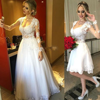 Wholesale Two Button T Shirt - vestido de novia Two Pieces Long Sleeve Beach Wedding Dresses in One Detachable Bridal Gowns with Lace and Pearls Robe de Mariage 2017