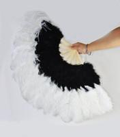 ingrosso fan delle piume nere-Ventaglio di piume di struzzo bianco marabù nero grande ventaglio pieghevole ventaglio ventaglio 21