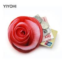 Wholesale Girls Banks - Wholesale- 2017 3D Rose Flower Women Children Girls Cotton Coin Purses Holders Zipper Money Bag Pouch Kids Small Wallets Coin Bank Case
