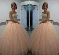 Wholesale Quincenera Dresses Blue - Unique 2016 Pink Sweetheart Strapless Ball Gown Tulle Quincenera Dress With Beaded Bodice Sweet 16 Princess Dress Quinceanera Dress Prom