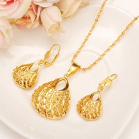 Wholesale Wedding Bags China - Fashion Bag Pendant Earring Set Women Party Gift Real 24k Yellow Fine Solid Gold Filled Necklace Earrings Jewelry Sets