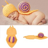 Wholesale Snail Crochet - Baby Snail Style Costume Photo Prop Knitting Crochet 0-12 Month Newborn Photography Props Outfits Photo Prop Handmade Knit Funny 2017 BP029