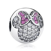 Wholesale Diy Charm Bead Stopper - Authentic 925 Sterling Silver Bead Charm Crystal Pvae Minnie Clip Stopper Beads Fit Women Pandora Bracelet Bangle Diy Jewelry HK3568