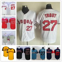 Wholesale Anaheim Angels Jersey Black - Los Angeles Angels Of Anaheim #27 Mike Trout Gray Road White Red camo black 2017 All-Star Game navy blue Kiiiiid Stitched California jerseys