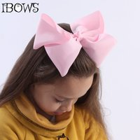 """Wholesale Large Red Bows For Hair - Wholesale- Boutique 8"""" Large Solid Grosgrain Ribbon Hair Bow Clips Barrette Bow For Women Girls Accessories"""