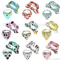 Wholesale Toddler Animal Towels - INS Saliva Towel Baby Head Band Infant Triangule Bandage Burp Cloth Toddler Fruit Pinafore Hairband Newborn Animal Bibs Head Scarf B1907